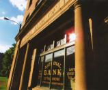 sun reflection on National Bank of Thurmond