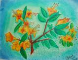 student artwork - oil painting of flame azalea
