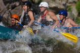 rafters paddle through whitewater