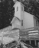 black and white photo of a coal camp church
