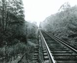 black and white photo of RR tracks