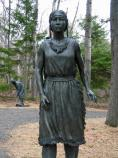 This bronze statue marks the first stop along the interpretive trail.