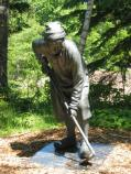 This bronze statue marks the second stop along the interpretive trail.