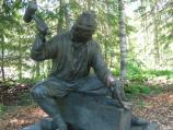 This bronze statue marks the third stop along the interpretive trail.