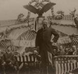 Theodore Roosevelt postures during a speech at New Castle, Wyoming.