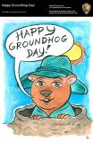 Cartoon groundhog head with a hat peeks out of his burrow.