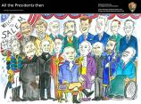 An assortment of cartoon images of presidents that are known to have visited Salem.