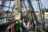 Visitors crowd the main deck of the replica tall ship Friendship during the 2007 Salem Maritime Festival