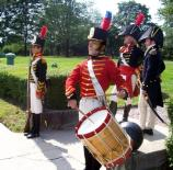 Reenactors portray officers, enlisted men and musicians of the US Marines during the War of 1812.