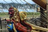 The Kalmar Nyckel, a replica of the ship that brought the first settlers from Sweden to Delaware in 1638, is highly decorated with carvings. This is the figurehead.