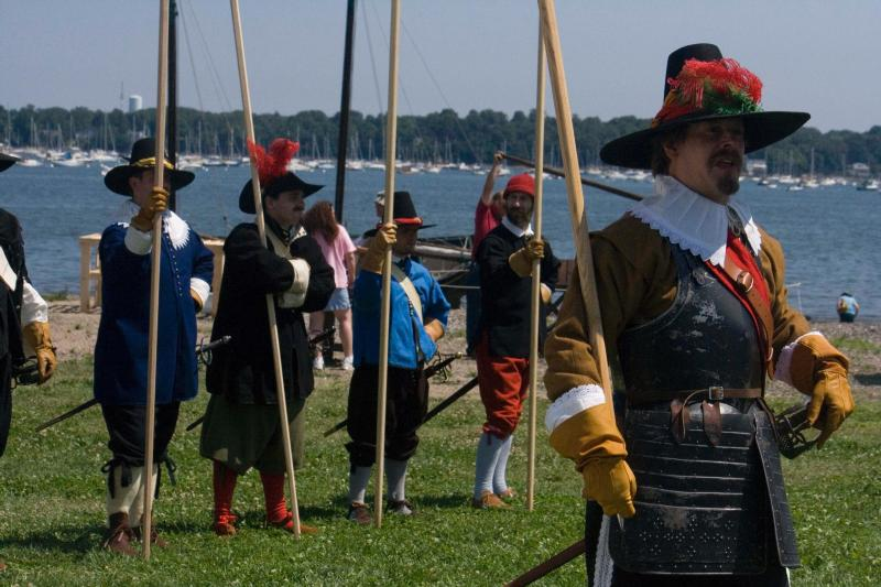 The Salem Trayned Band drills on Derby Wharf