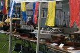 A row of model boats on display at the Salem Maritime Festival. Many expert modelers from the region display their art at the Maritime Festival.