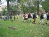 A group of children get to experience being part of a Revolutionary War unit by drilling with a group of re-enactors portraying the Marbleheaders during the Battle of Pell's Point Encampment at St. Paul's Church NHS.
