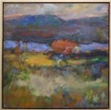 artist: Arleen Targan; Impressionistic view across Hudson River from Bemis Heights, anchor point of American fortifications at Saratoga Battlefield.