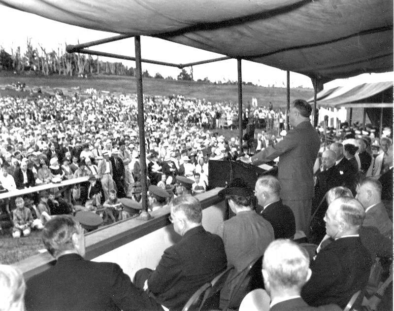 President Franklin D. Roosevelt speaking at the dedication of Shenandoah National Park, July 1936.