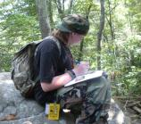 Studying the rocks and lichens