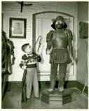 Historic photo of visitor to Springfield Armory