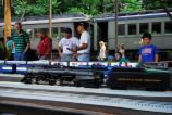 Visitors of all ages enjoy watching a model train layout