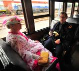 Civil War costumed characters aboard excursion coach