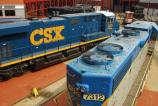 CSX newest GEVO diesel locomotive, ES44AC #909, poses with Canadian Pacific's D&H GP38-2 #7312