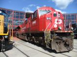Canadian Pacific SD90MAC #9143 on the Turntable Plaza at Railfest 2010.