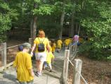 Prospective Junior Rangers start their hike through the woods at Thomas Stone NHS