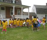 The prospective Junior Rangers touring the grounds of Haberadventure, the home of Thomas Stone