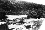 This photograph, taken circa 1890 near Creek Locks, not far from Rondout, shows a boat building yard. There were numerous yards similar to this in multiple locations along the canal.