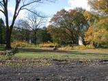 View of the field after tree removal at General Washington's Headquarters. This construction is Phase I of a rehabilitation project for the area.