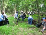 Volunteers clean up trash on National Trails Day.