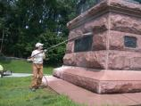 Pressure washing the General Anthony Wayne statue.