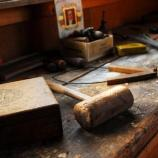 Mallet and Calipers on Mahonri Young's workbench in the Young Studio