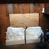 South wall of Young Studio, interior, with plaster relief casts from This is the Place Monument