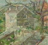 C. Sperry Andrews. Untitled (Potting Shed & Sunken Garden). Oil on Canvas. Private Collection.