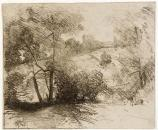 Julian Alden Weir, Willows, 1887-1893. Etching on paper sheet. 4 5/8 x 5 1/2 in. (11.7 x 14.0 cm)