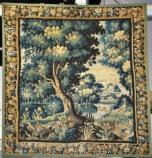 Wall tapestry with house, trees and animals