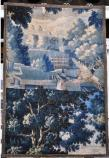 Wall tapestry with building, tree and pheasants