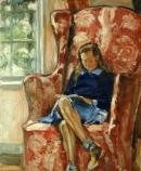 Girl in Red Armchair Reading