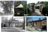 Five historic and contemporary imagess show the Summerhouse, Pergola, and Lodge.