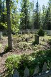 Vegetation has been cleared from within the cemetery, creating more open space around the rows of grave markers.