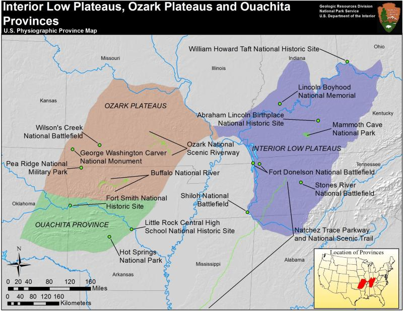 map of ouachita province and ozark plateaus