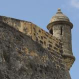 A close up of the fort and its rock walls.
