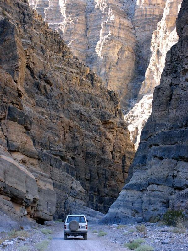 The narrows of Titus Canyon can be explored either by high-clearance vehicle or on foot,