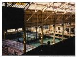 Sutro Baths interior showing swimmers, pools, and roof arch, c. 1940.