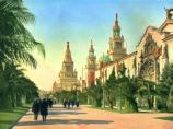 Palm Avenue, shown in this historic colored postcard, was the main thoroughfare between the great South Gardens and the group of main exhibit palaces. Beautiful California palms lined either side of the avenue. On the right is the entrance to the Palace of Varied Industries, following which are two 200' tall Italian towers, each on either side of the entrance to the Court of Flowers.