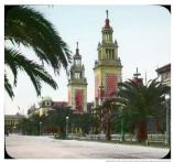 Hand-tinted lantern slide of the Avenue of the Palms at the Panama-Pacific International Exposition (PPIE), 1915.