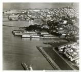 Fort Mason, Port of Embarkation, Coit Tower, and Marina aerial, 1950.