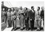 "Nixon standing on boat with politicians—""Maillard, Morton, Bob Dole (?), Pete Wilson, Pat Nixon"" – in front of Golden Gate Bridge, 1972. The visit was to publicize the GOGA bill before Congress."