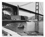 Exterior picture of Fort Point with the Golden Gate Bridge, 19 February 1947. Notice the light keeper's house is still intact.