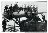 """Coast Artillery soldiers on 10"" disappearing gun, Btry, Cranston, Fort Scott, 1915"""